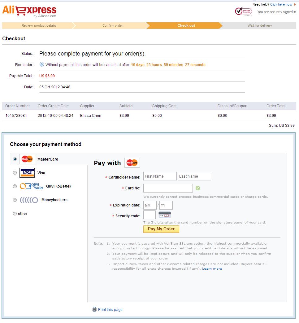 Оплата товара на aliexpress Check out