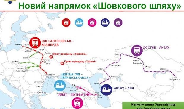 Транспортный путь поезда Украина - Китай