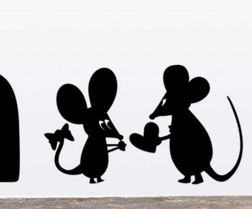Милые наклейки на стену, мышки. Купить на Алиэкспрессе