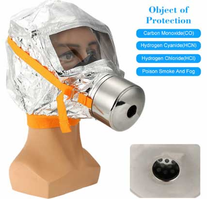 Маска респиратор против дыма и токсичных веществ, противопожарная спасательная маска