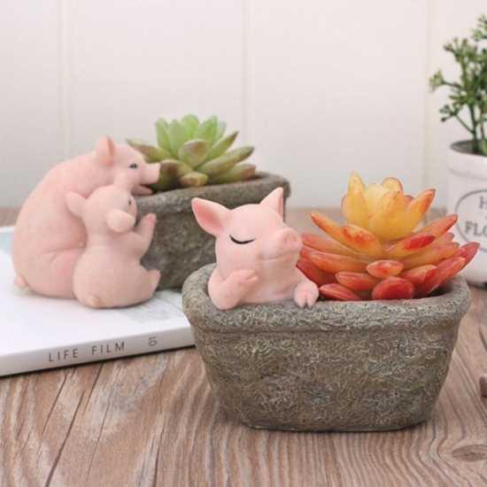 Цветочный горшок со свиньей Подарки и сувениры к году Свиньи 2019 Китайский новый год