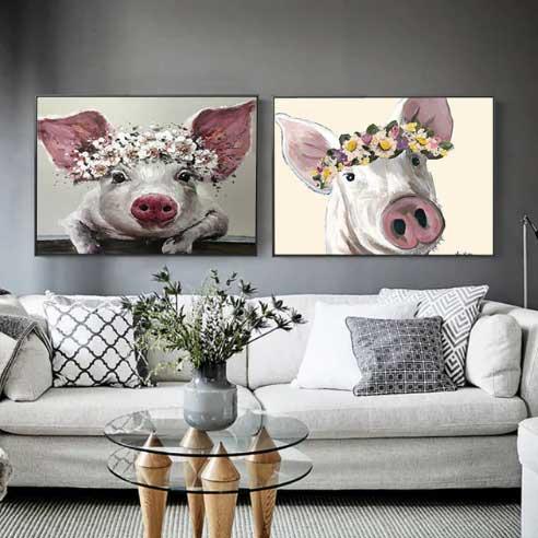 Картина, с изображением свиньи.
