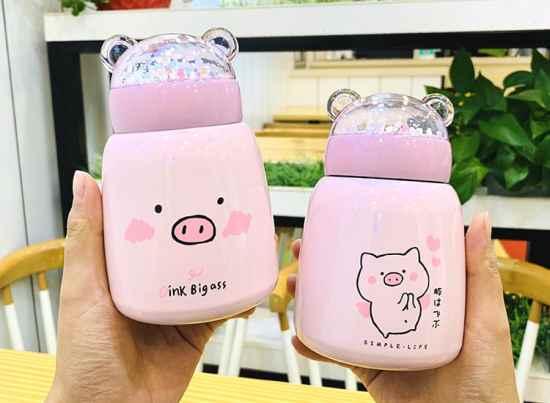 Термокружка розовая свинка