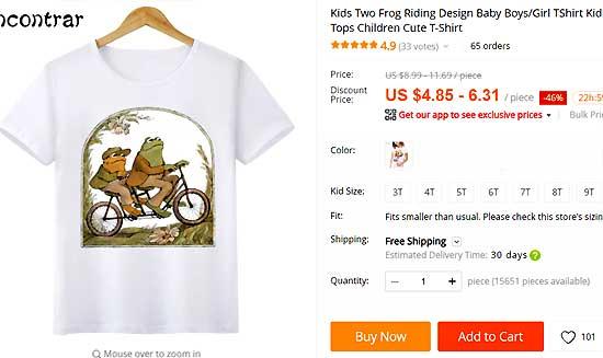 Детская футболка на Алиэкспресс с лягушками