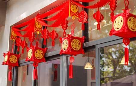 Украшения на окнах праздник Весны Китайский новый год