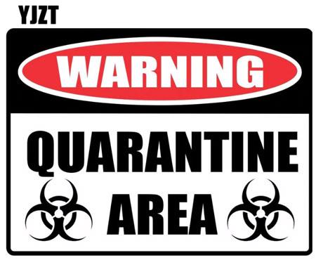 15 * 11,1 см мультфильм предупреждающий знак карантинсветоотражающие наклейки стикер автомобиля
