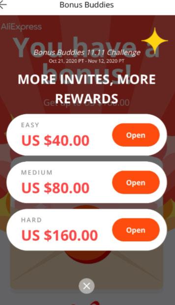 Накопление бонусов в игре Бонусные друзья AliExpress 11.11 Bonus Buddies