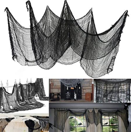 Декоративное оформление для Хэллоуина из черной марли