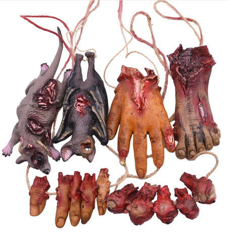 Фальшивая мертвая мышь, летучая мышь, сломанные руки, окровавленные ноги, глаза, отрубленные пальцы