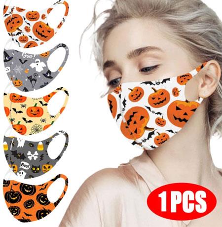 Маска для лица на Хэллоуин с тыквенным рисунком