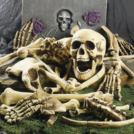 Кости скелета на Хэллоуин.