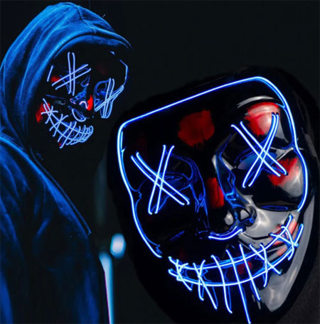 ужасная светящаяся маска на Хэллоуин