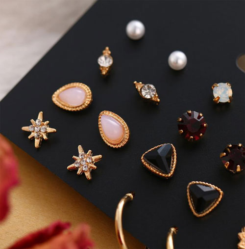 Женские серьги, серьги с жемчугом в богемном стиле, серьги-гвоздики с геометрическим кристаллом
