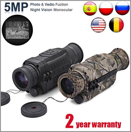 Инфракрасный цифровой Монокуляр ночного видения WG540 с TF-картой 8G в полной темноте 5X40, Диапазон 200 м, охотничий монокуляр, оптика ночного видения