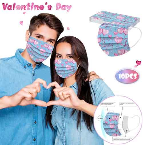 Одноразовые маски для лица - С Днем Святого Валентина 2021